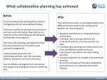 what collaborative planning has achieved