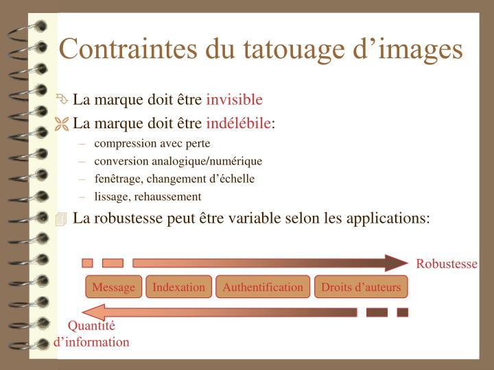 Contraintes du tatouage d'images