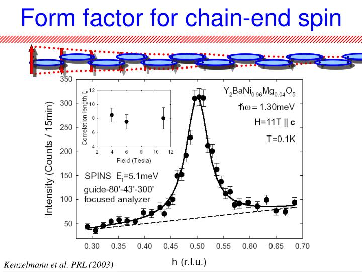 Form factor for chain-end spin