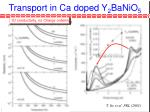 transport in ca doped y 2 banio 5