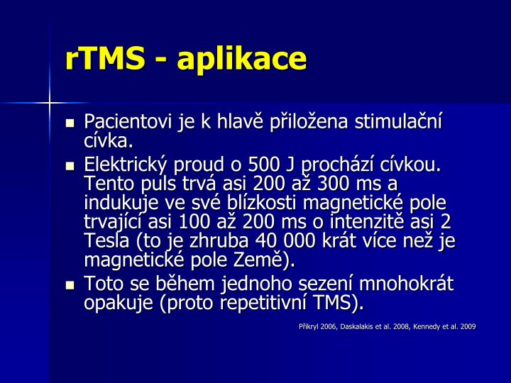rTMS - aplikace