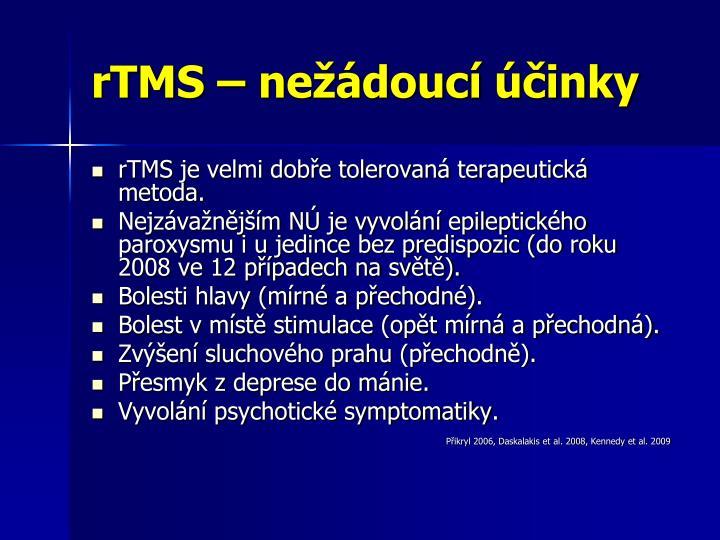 rTMS – nežádoucí účinky