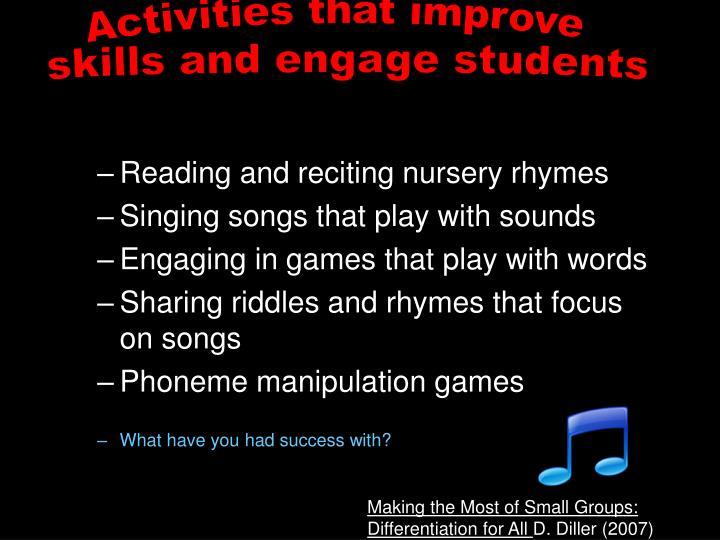 Activities that improve