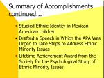 summary of accomplishments continued