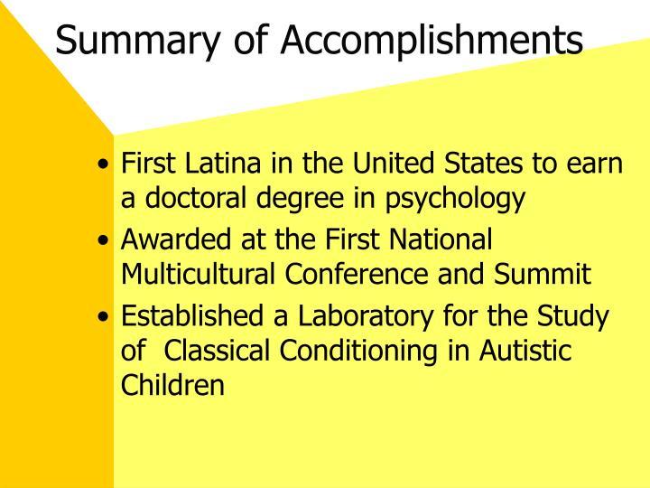 Summary of Accomplishments