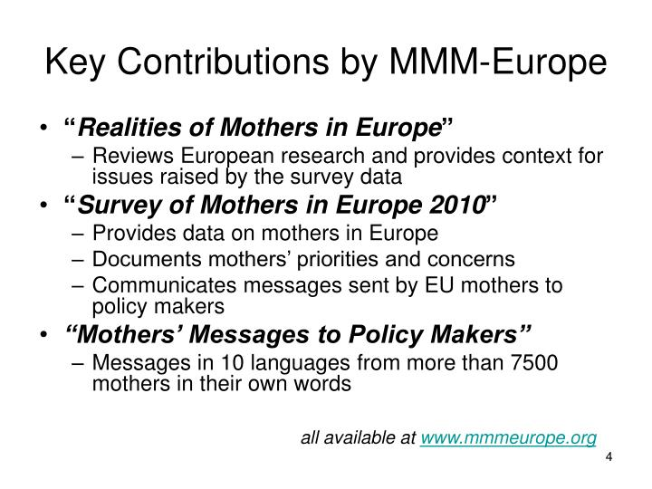 Key Contributions by MMM-Europe