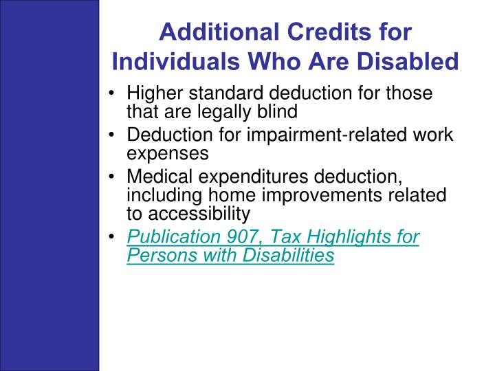 Additional Credits for Individuals Who Are Disabled
