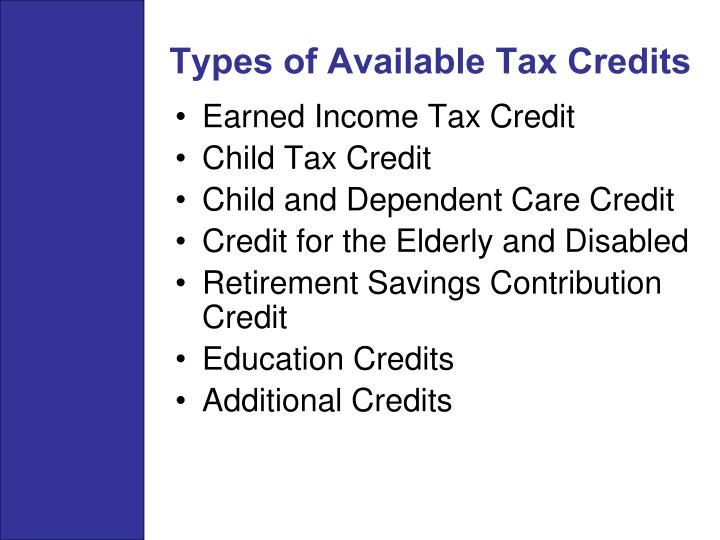 Types of Available Tax Credits