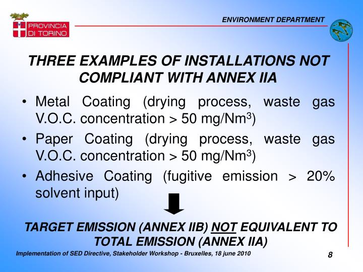 THREE EXAMPLES OF INSTALLATIONS NOT COMPLIANT WITH ANNEX IIA