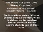 19th annual mlk event 2012 winning essay entries13