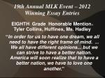 19th annual mlk event 2012 winning essay entries16