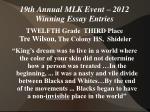 19th annual mlk event 2012 winning essay entries30