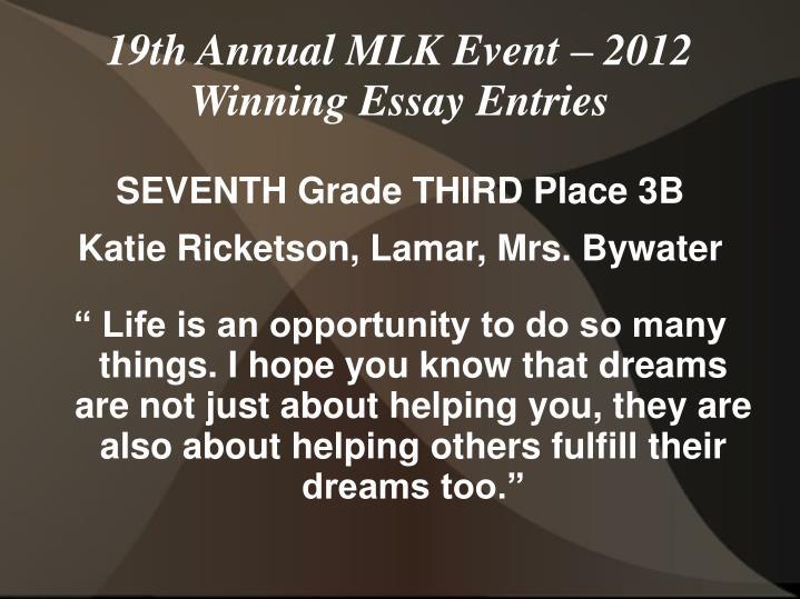 SEVENTH Grade THIRD Place 3B