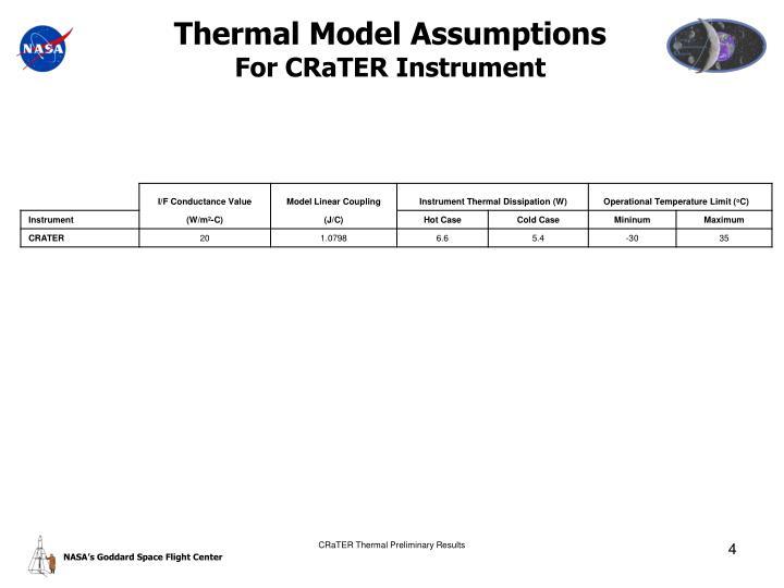 Thermal Model Assumptions