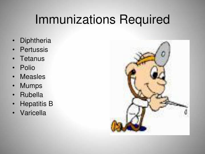 Immunizations Required