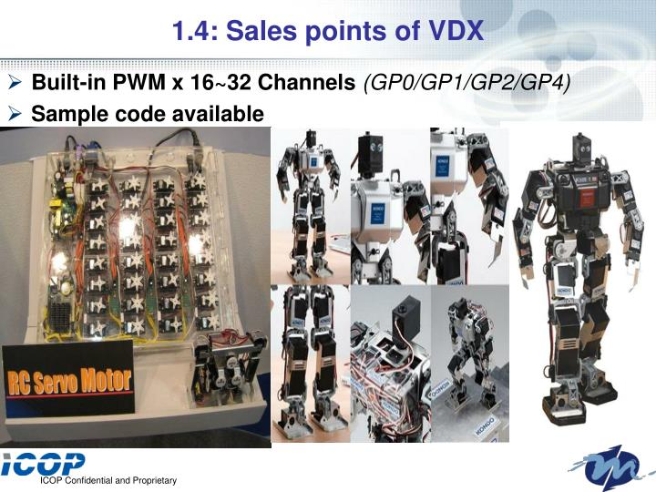 1.4: Sales points of VDX