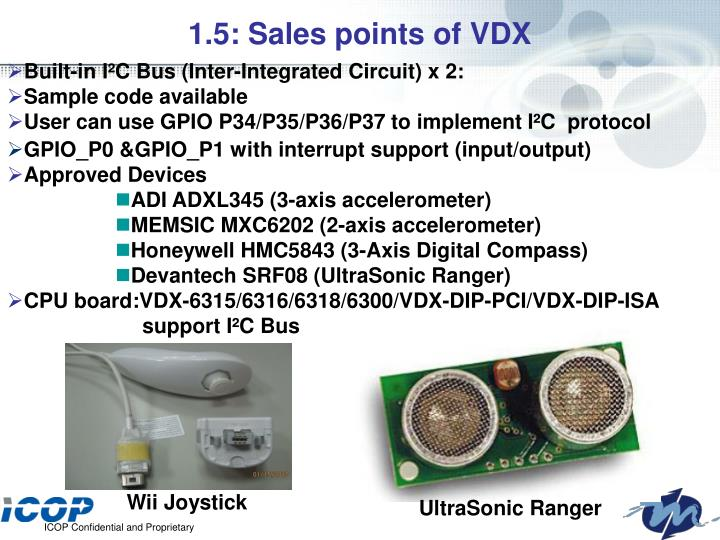 1.5: Sales points of VDX