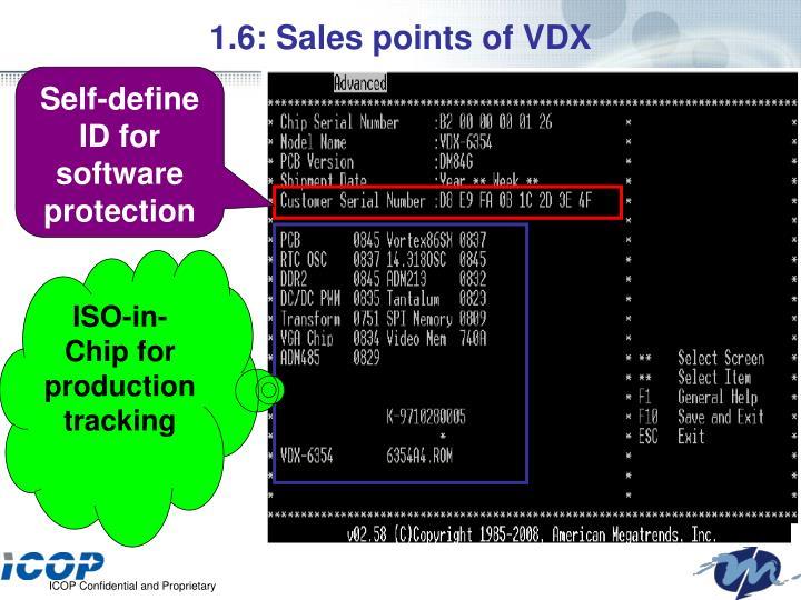 1.6: Sales points of VDX