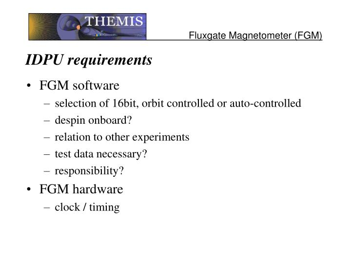 IDPU requirements