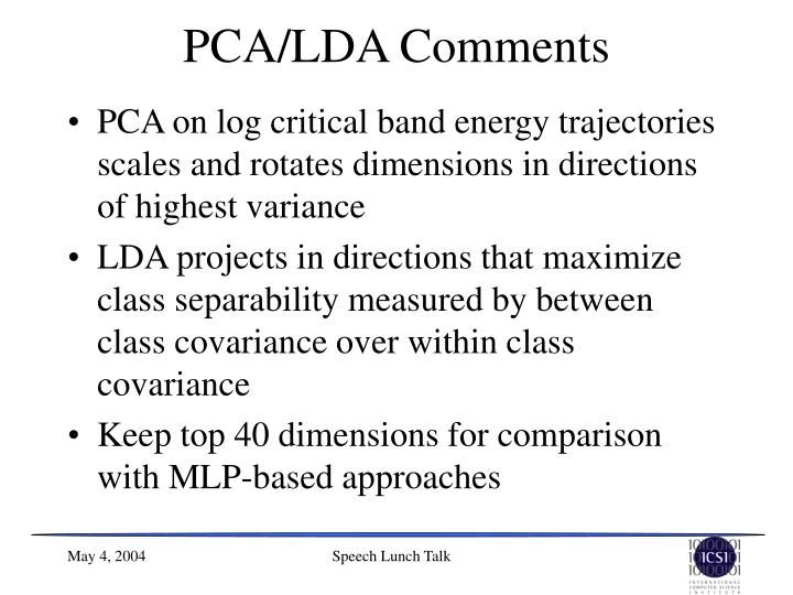 PCA/LDA Comments