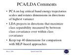 pca lda comments