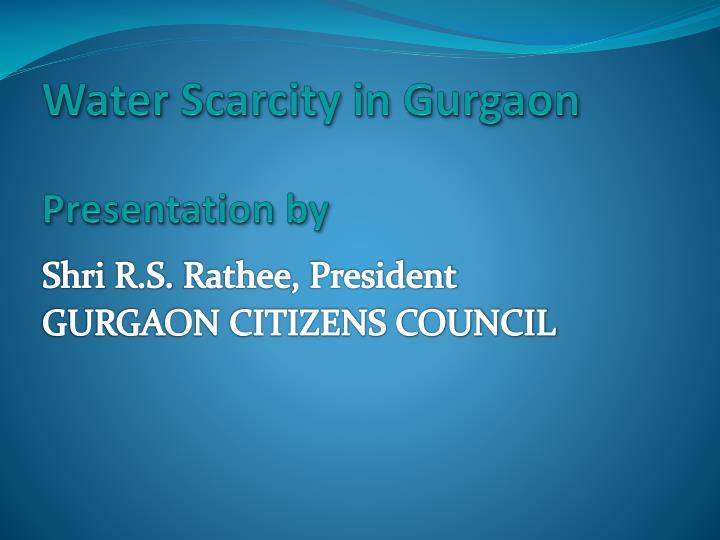 Water Scarcity in Gurgaon