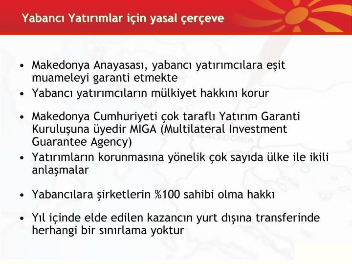 Yabancı Yatırımlar için yasal çerçeve