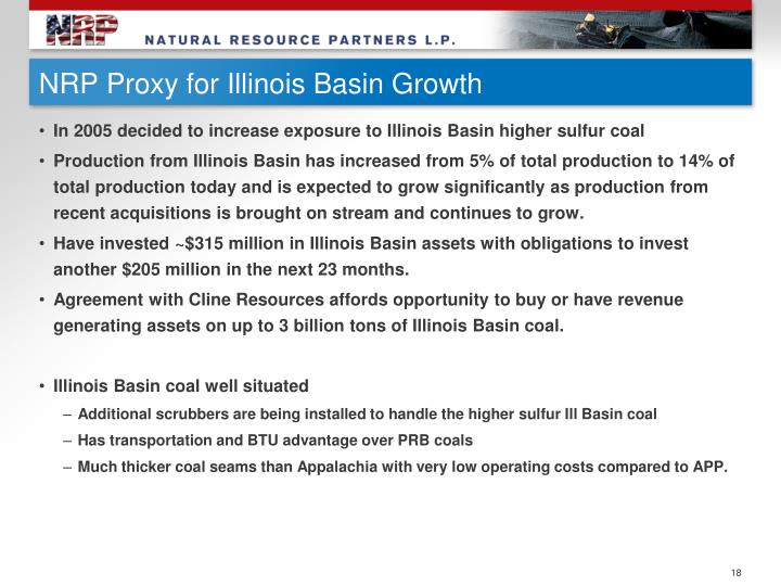 NRP Proxy for Illinois Basin Growth
