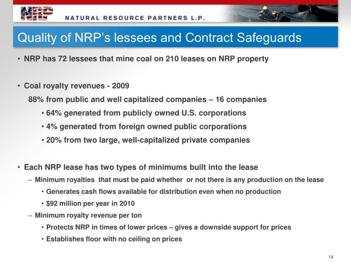 Quality of NRP's lessees and Contract Safeguards