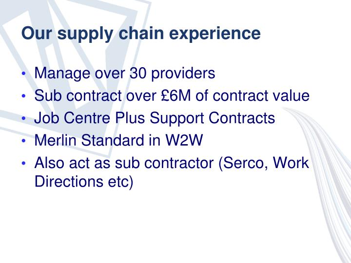 Our supply chain experience
