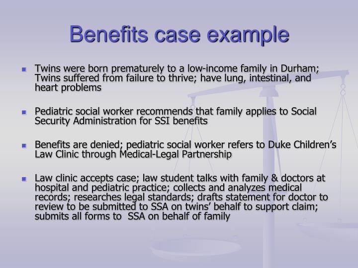 Benefits case example