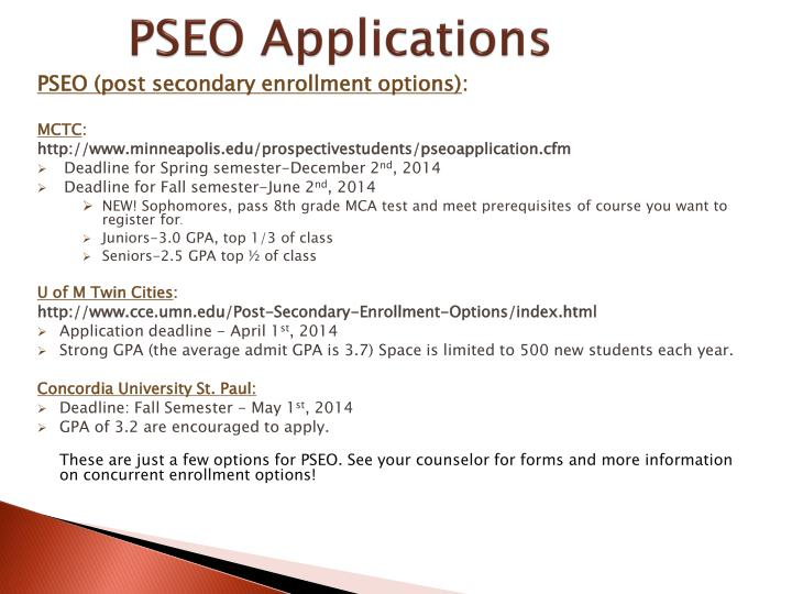 PSEO Applications