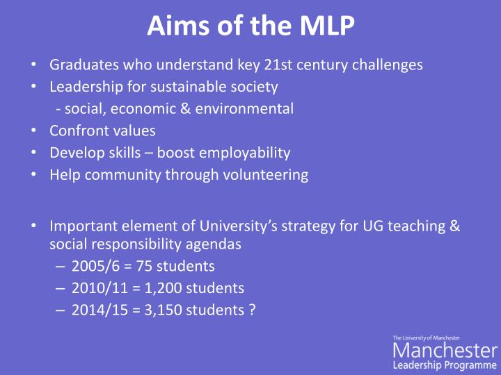 Aims of the MLP