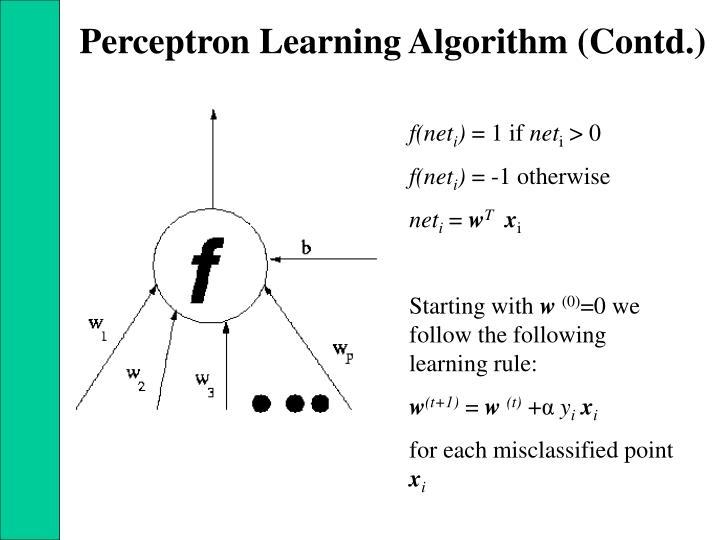 Perceptron Learning Algorithm (Contd.)