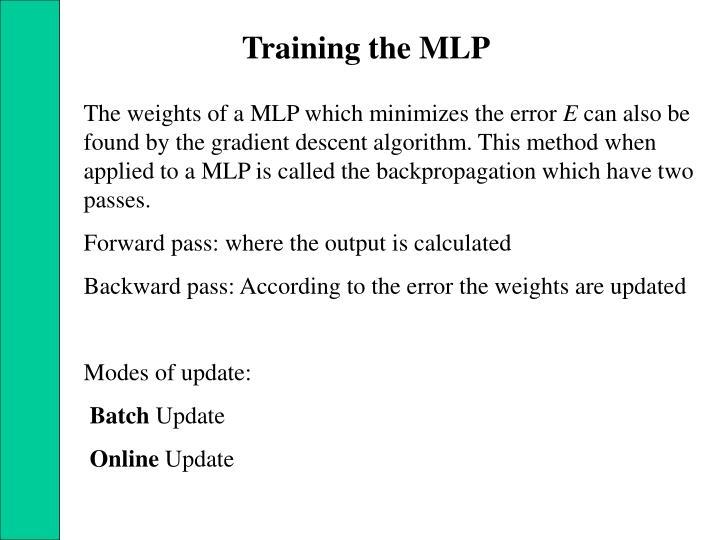 Training the MLP