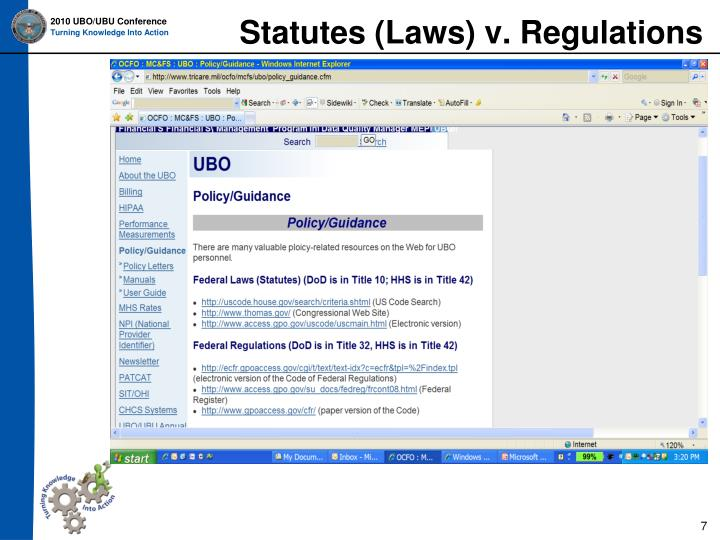 Statutes (Laws) v. Regulations