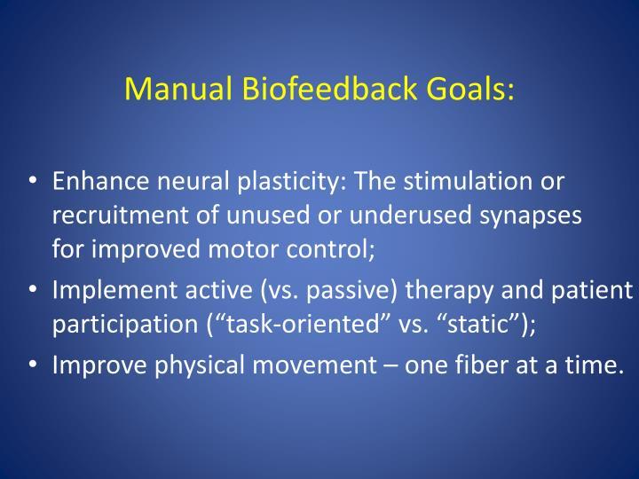 Manual Biofeedback Goals: