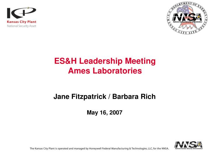 ES&H Leadership Meeting