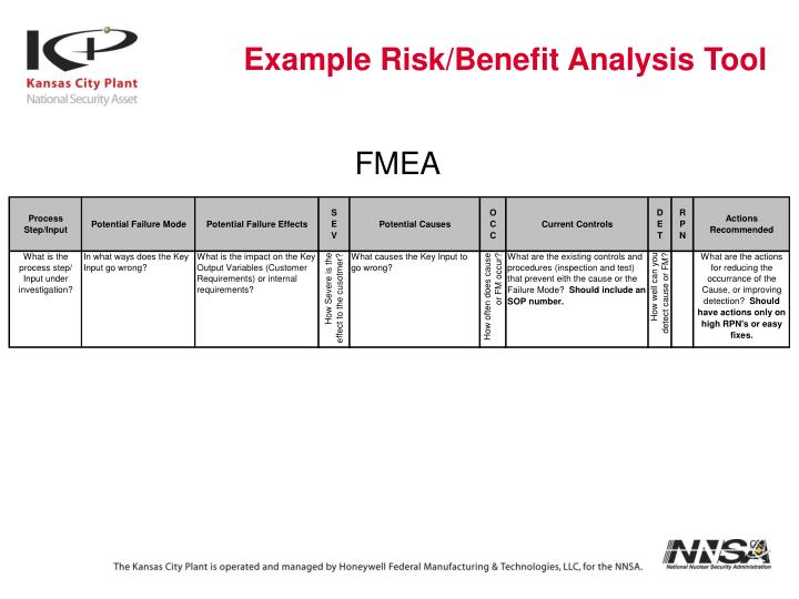 Example Risk/Benefit Analysis Tool