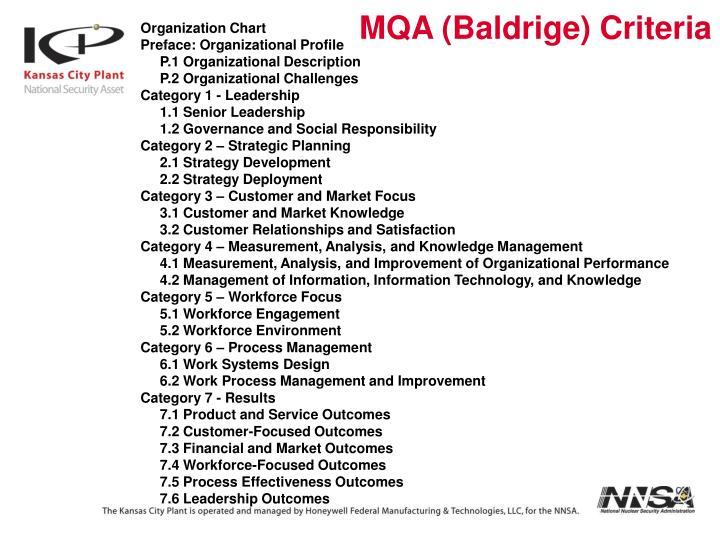MQA (Baldrige) Criteria