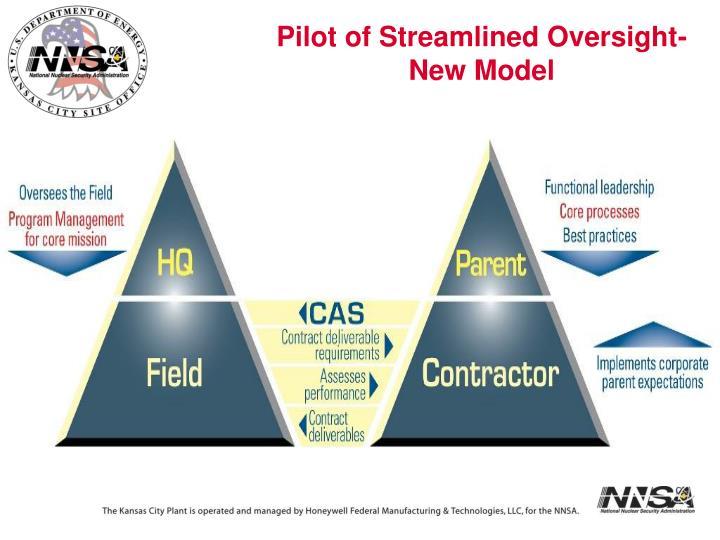 Pilot of Streamlined Oversight- New Model