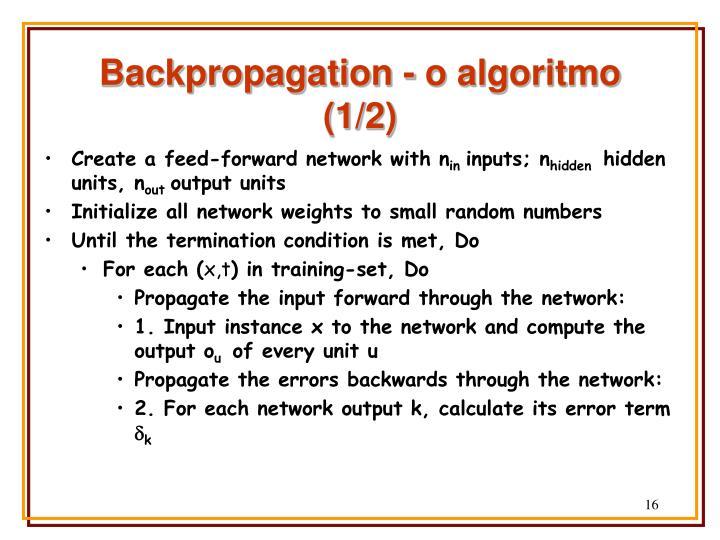 Backpropagation - o algoritmo (1/2)