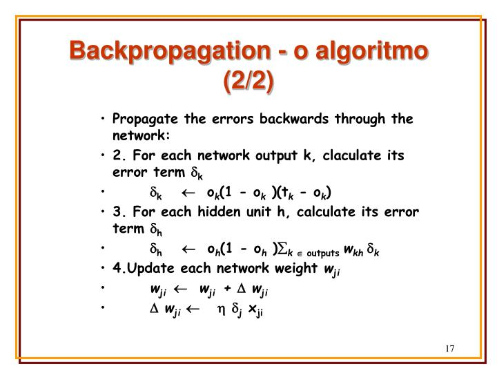 Backpropagation - o algoritmo (2/2)