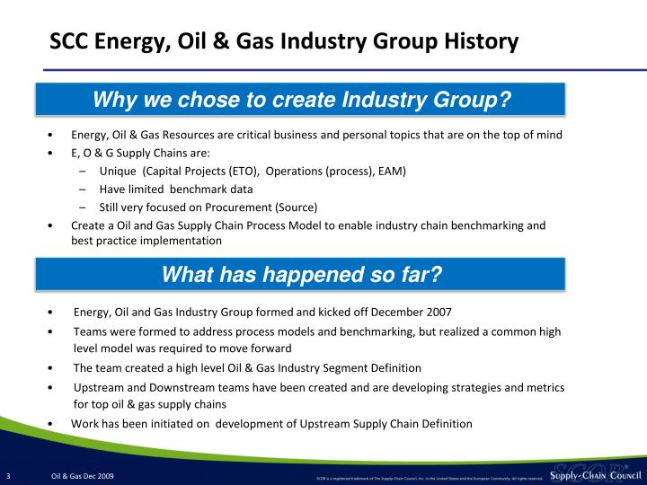 SCC Energy, Oil & Gas Industry Group History