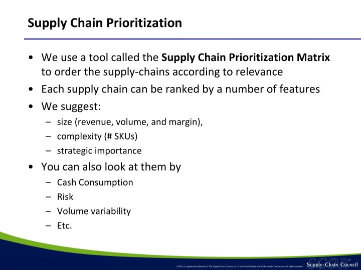 Supply Chain Prioritization