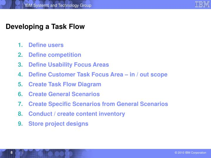 Developing a Task Flow