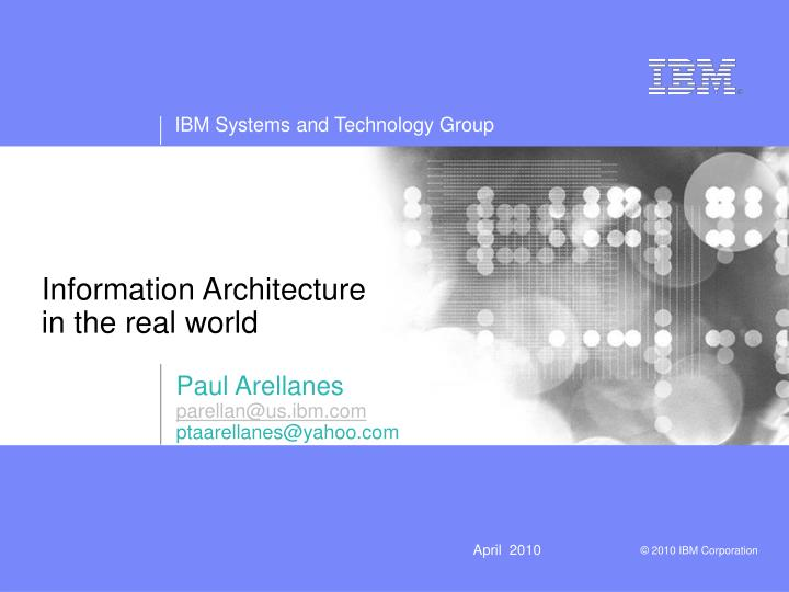 Information architecture in the real world
