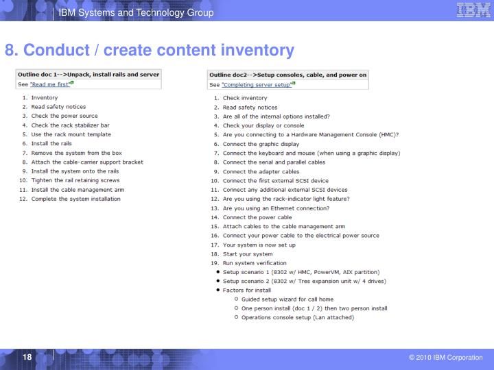 8. Conduct / create content inventory