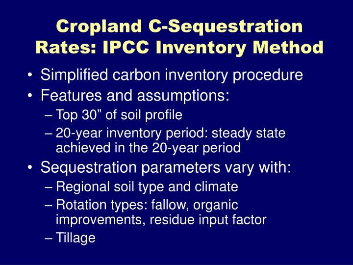 Cropland C-Sequestration Rates: IPCC Inventory Method