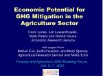 economic potential for ghg mitigation in the agriculture sector